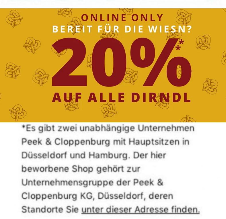 da6fceee13d8d2 Nur bis 10 00 Uhr  20% Rabatt auf alle Dirndl bei Peek   Cloppenburg  -  Snipz.de