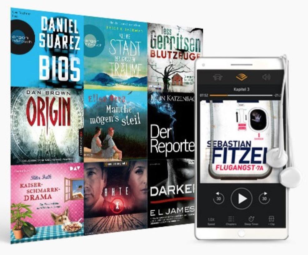 3 Monate Audible zum halben Preis von nur 4,95 Euro monatlich – jeden Monat ein Hörbuch kostenlos herunterladen