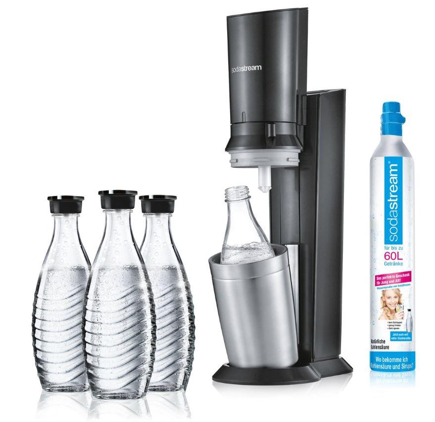 SODASTREAM Crystal 2.0 Wassersprudler Titan + 2 zusätzliche Glaskaraffen gratis dazu für nur 99,- Euro inkl. Versand