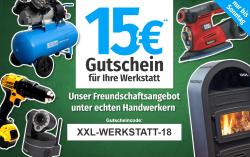 15,- Euro Rabatt auf die Kategorie Werkstatt bei GartenXXL