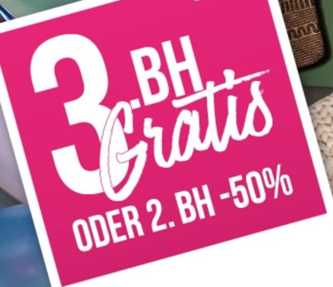 Hunkemöller Onlineshop: 3. BH gratis oder 50% Rabatt auf den 2. BH + kostenloser Versand