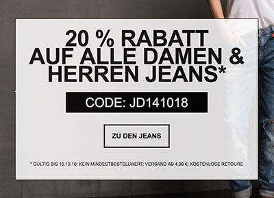 20% Rabatt auf alle Damen- und Herren Jeans im Jeans-Direct Online-Shop (ohne MBW)
