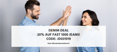 Nur noch heute: 20% Rabatt auf über 800 Damen- und Herren Jeans im Jeans-Direct Online-Shop