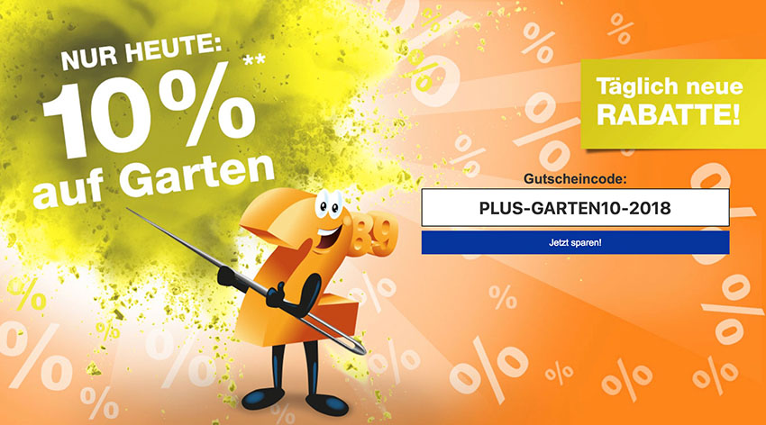 Nur Am Heutigen Donnerstag Gibt Es Im Plus Onlineshop Einen Gutscheincode  Mit 10% Rabatt Auf Die Kategorie Garten.
