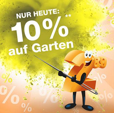 Nur heute: 10% Rabatt auf die Kategorie Garten im Plus Onlineshop