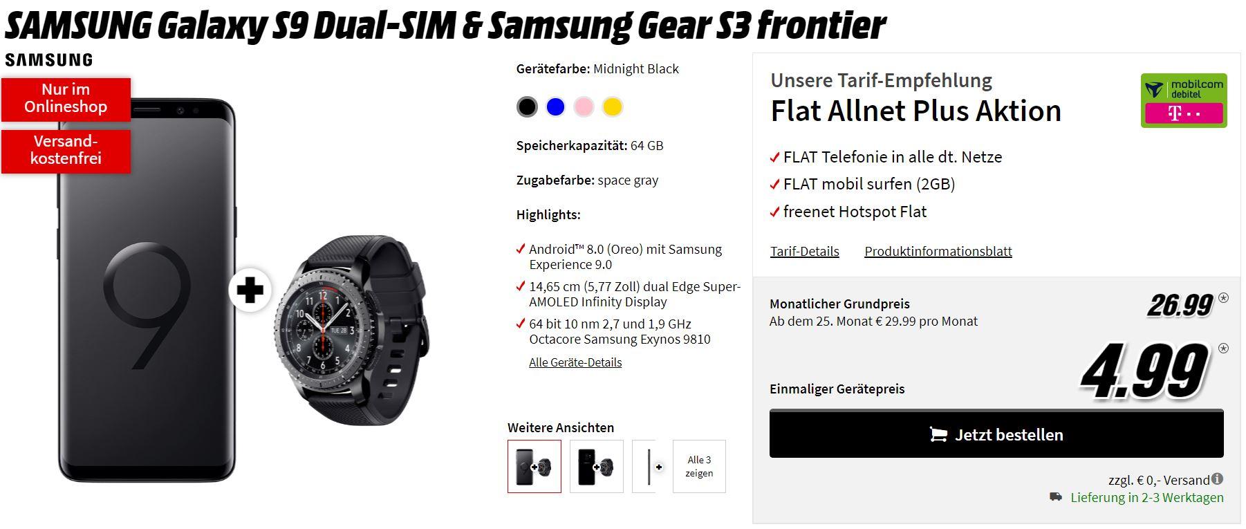 Samsung galaxy s9 mit gear s3 frontier