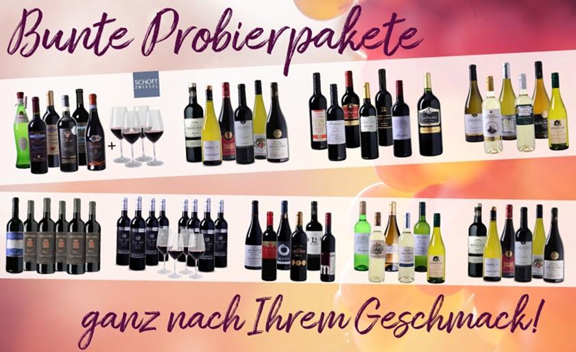 Verschiedene Weinpakete (teils mit Gläsern) bei Weinvorteil stark reduziert