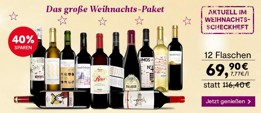 Wein & Vinos Weihnachtsaktion – 20 tolle Weinangebote zum Fest ab 34,90 Euro inkl. Versand