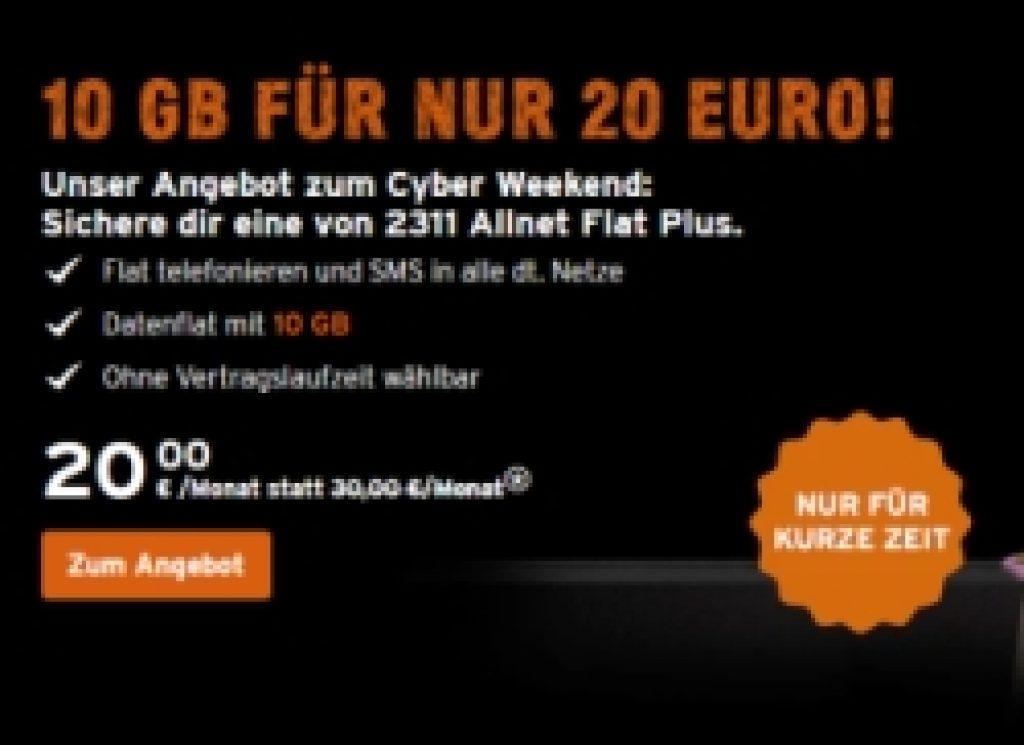 Allnet-Flat + SMS-Flat + 10GB Datenvolumen