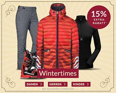 15% Rabatt auf Wintertimes bei Engelhorn Sports – z.B. Ski- und Snowboardbekleidung sowie Accessoires