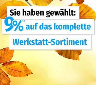 Nur heute: 9% auf alle Werkstattartikel im GartenXXL Onlineshop