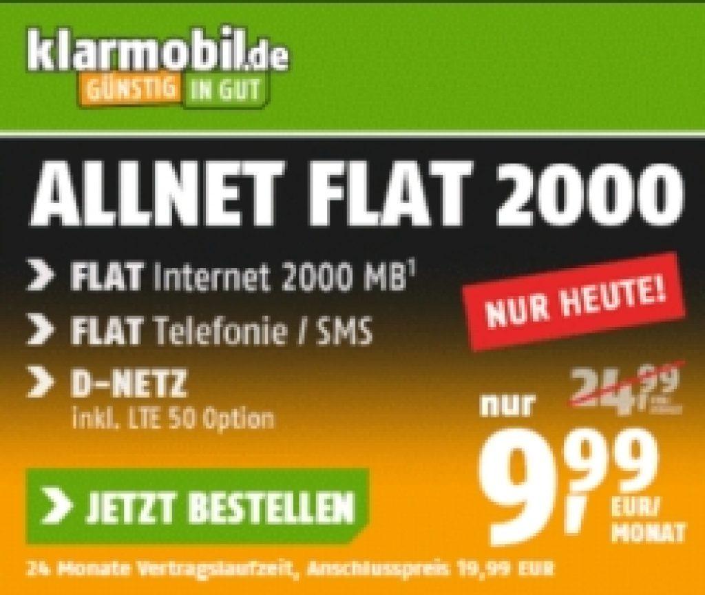 Klarmobil Allnet- und SMS-Flat mit 2GB LTE