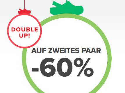 60% Rabatt auf das zweite Paar aus dem regulären Sortiment im Crocs Onlineshop