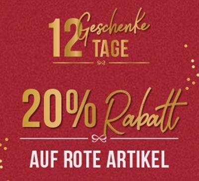 20% Rabatt auf alle roten Artikel im Hunkemöller Onlineshop