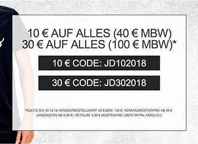 Bis zu 30,- Euro Extra-Rabatt auf alle Artikel bei Jeans-Direct im Online-Shop
