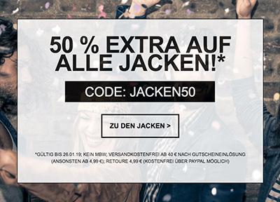 50% Rabatt auf alle Damen- und Herren-Jacken im Jeans-Direct Onlineshop