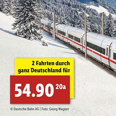 Das Lidl DB-Ticket – 2 IC/ICE Fahrten durch Deutschland für nur 54,90 Euro