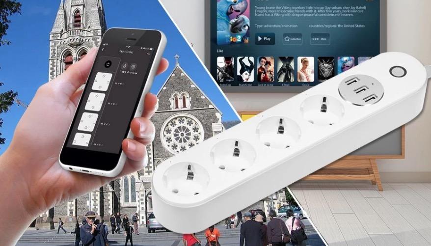 4 fach steckdosenleiste mit 3 usb ports app steuerung und. Black Bedroom Furniture Sets. Home Design Ideas