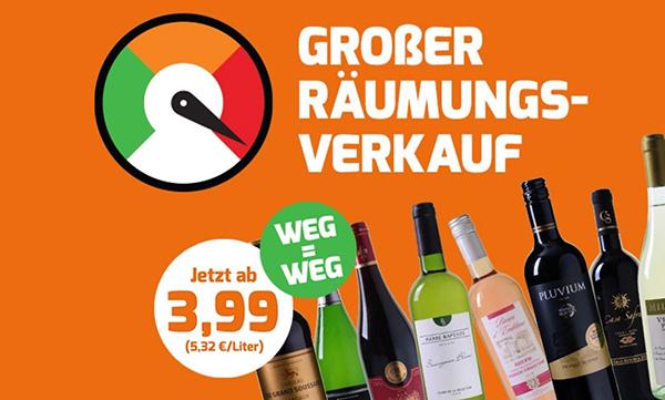 Weinvorteil Räumungsverkauf mit verschiedenen reduzierten Weinen ab 2,99 Euro pro Flasche (MBW: 6 Flaschen)