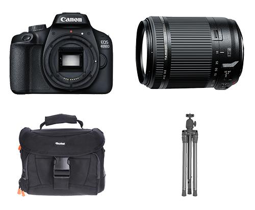 Knaller! CANON EOS 4000D + TAMRON B018C Zoomobjektiv + Kameratasche + Stativ für nur 299,- Euro (statt 480,- Euro)