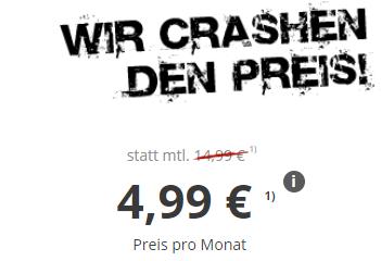 CRASH Smartphone Flat 2000 mit 2GB Daten und 100 Inklusivminuten für nur 4,99 Euro monatlich