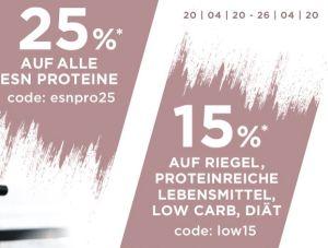 25% Rabatt auf alle ESN Proteine und 15% Rabatt auf Riegel und mehr im Fitmart Onlineshop