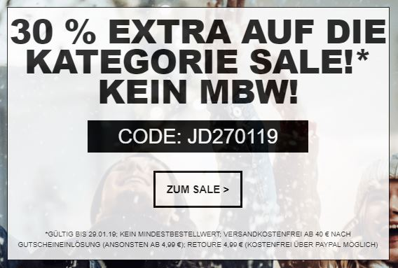 30 % Rabatt auf die Kategorie Sale bei Jeans-Direct – ohne Mindestbestellwert