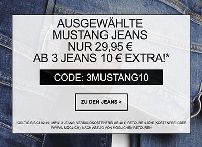 Jeans-Direct: Verschiedene Mustang Jeans für nur je 29,95 Euro – 10,- Euro Extra-Rabatt beim Kauf von 3 Jeans