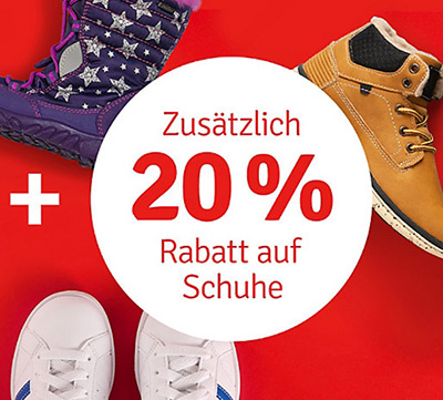 20% Rabatt auf alle bereits reduzierten Schuhe für Kinder im myToys Onlineshop
