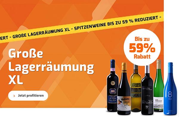 Weinvorteil Restposten-Abverkauf mit bis zu 59% Rabatt – ab 3,99 Euro pro Flasche