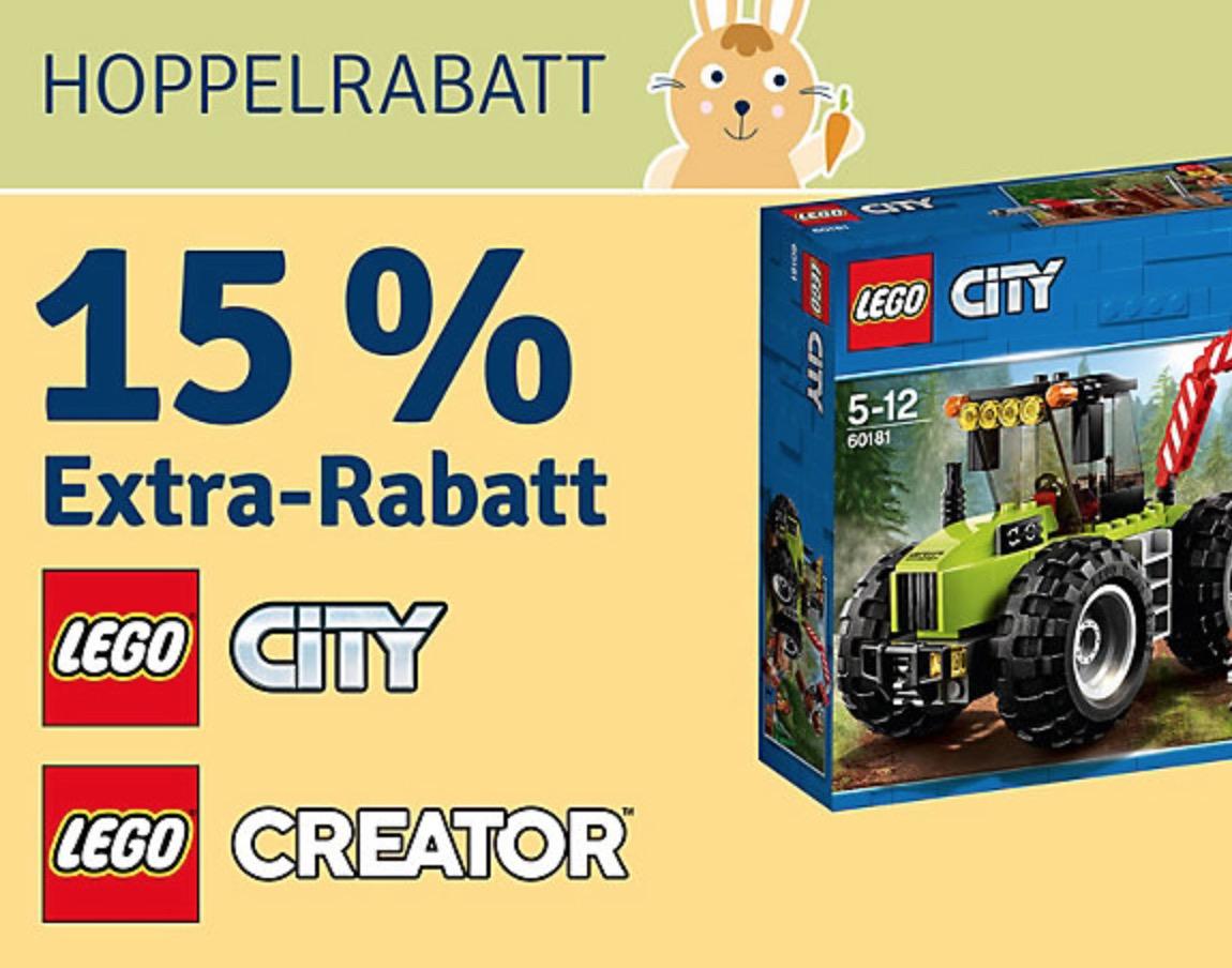 Nur noch heute 15% Rabatt auf Artikel der Marken LEGO Creator und LEGO City bei myToys