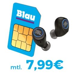 Wieder da! Blau Allnet L Sim-only Tarif mit Allnetflat, SMS-Flat und 3GB für 7,99 Euro mtl. + JBL Free X In-Ears für einmalig 39,- Euro