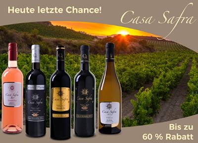 50% Rabatt auf die Casa Safra Weinkollektion bei Weinvorteil