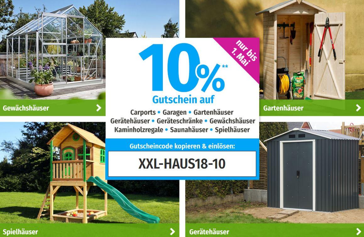 10% Rabatt auf alle Gartenhäuser und Carports im GartenXXL Onlineshop