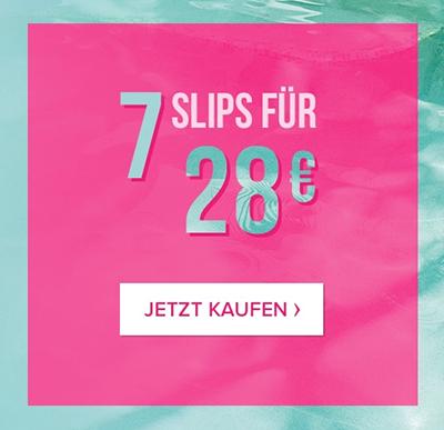 7 Slips für nur 28,- Euro im Hunkemöller Onlineshop bei Filiallieferung