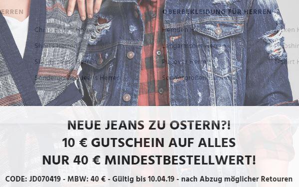 10,- Euro Rabatt auf das gesamte Sortiment bei Jeans-Direct ab 40,- Euro Bestellwert