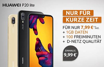 Klarmobil Tarif (1GB Daten + 100 Minuten) für mtl. 7,99 Euro + Huawei P20 Lite für einmalig 9,99 Euro