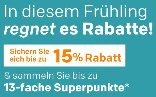 Top! Bis zu 15% Gutscheincode auf ausgewählte Kategorien bei Rakuten und 13x Superpunkte