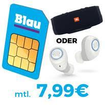Blau Allnet L mit 3GB Daten für mtl. 7,99 Euro + JBL Free X Kopfhörer oder Charge 3 Lautsprecher für einmalig 39,- Euro