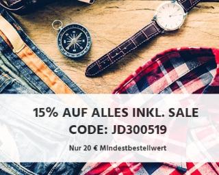 Nur noch heute! 15% Rabatt auf das gesamte Sortiment im Jeans-Direct Onlineshop