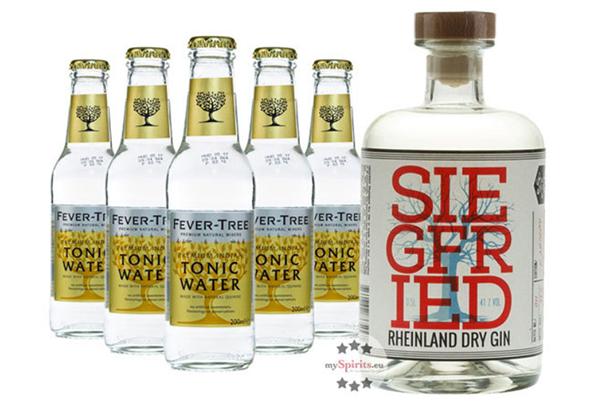 Siegfried Rheinland Dry Gin (0,5 L) & 5x Fever-Tree Tonic Water (0,2 L) für nur 27,80 Euro bei Zahlung mit paydirect