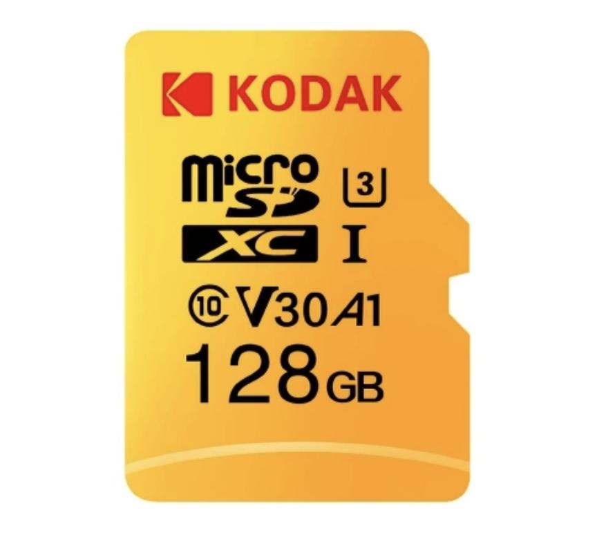 Kodak V30 Micro SD-Karte mit 128 GB Speicher und bis zu 100 MB / s Lesegeschwindigkeit für 16,99 Euro