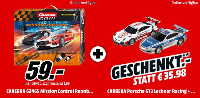 CARRERA GO!!! Mission Control Rennbahn + 2 Porsche Rennautos für nur 59,- Euro (statt 96,- Euro)