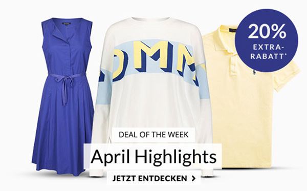 Engelhorn Fashion Weekly Deal mit 20% Rabatt auf über 3.800 April Highlights