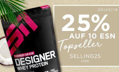 25% Rabatt auf 10 Topseller Produkte sowie 20% Rabatt auf ESN Sportswear im Fitmart Onlineshop