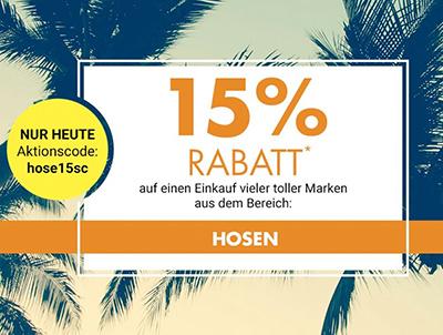 15% Rabatt auf Hosen und Jeans im Galeria Kaufhof Onlineshop