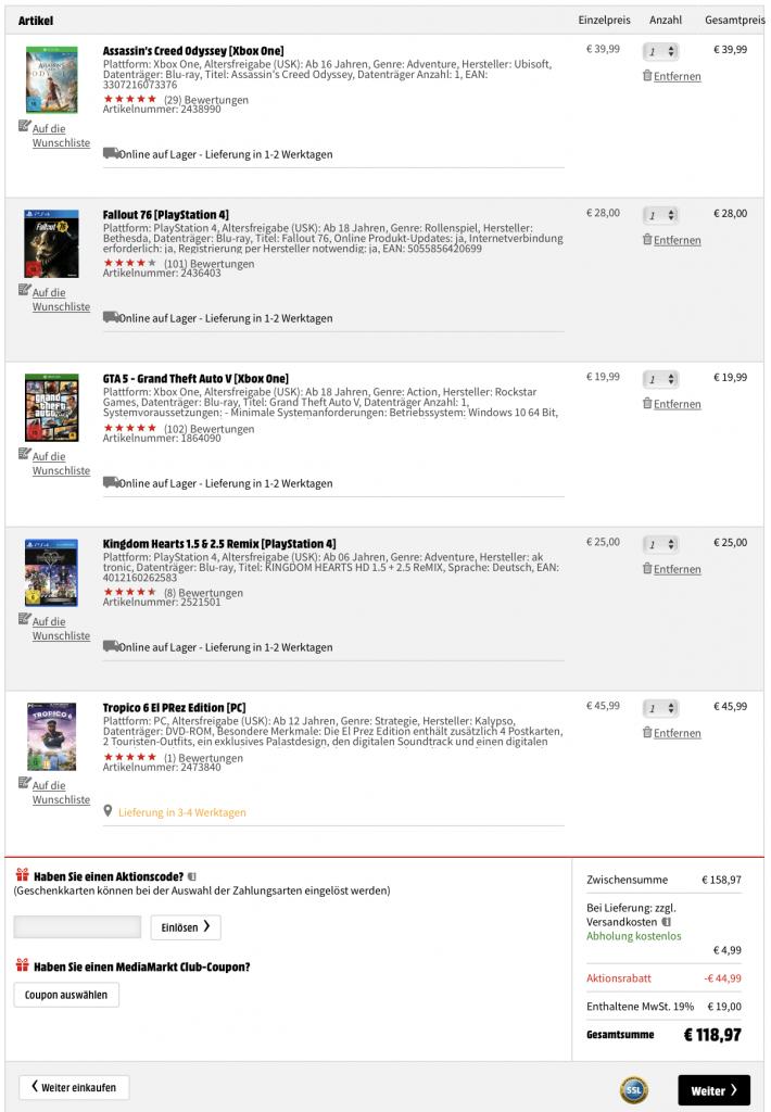 media markt, 2 games geschenkt