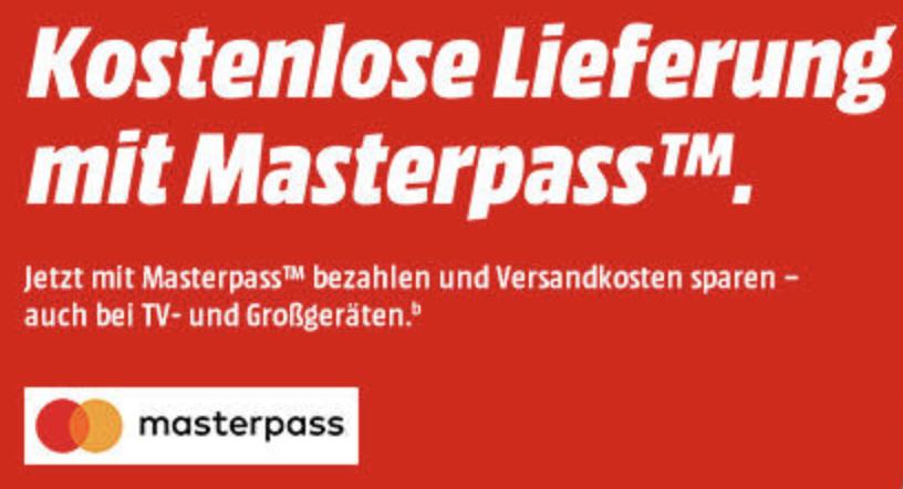 Kostenlose Lieferung für alle Artikel im MediaMarkt Onlineshop bei Zahlung per Masterpass