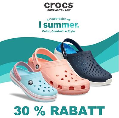 30% Rabatt auf viele Produkte im Crocs Onlineshop + kostenlose Lieferung