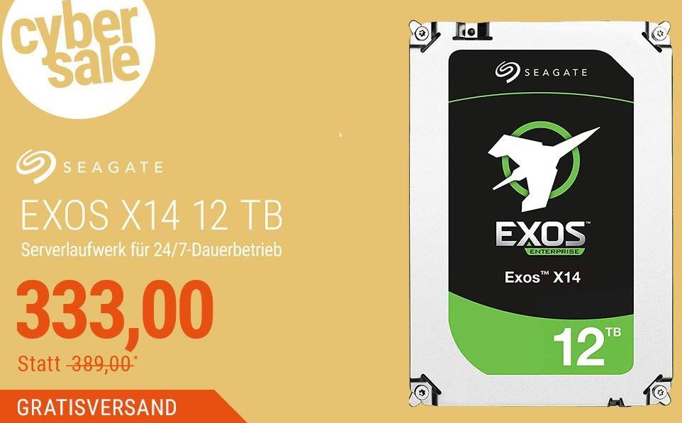 Seagate Exos X14 ST12000NM0008 Festplatte mit 12TB für nur 333,- Euro inkl. Versand
